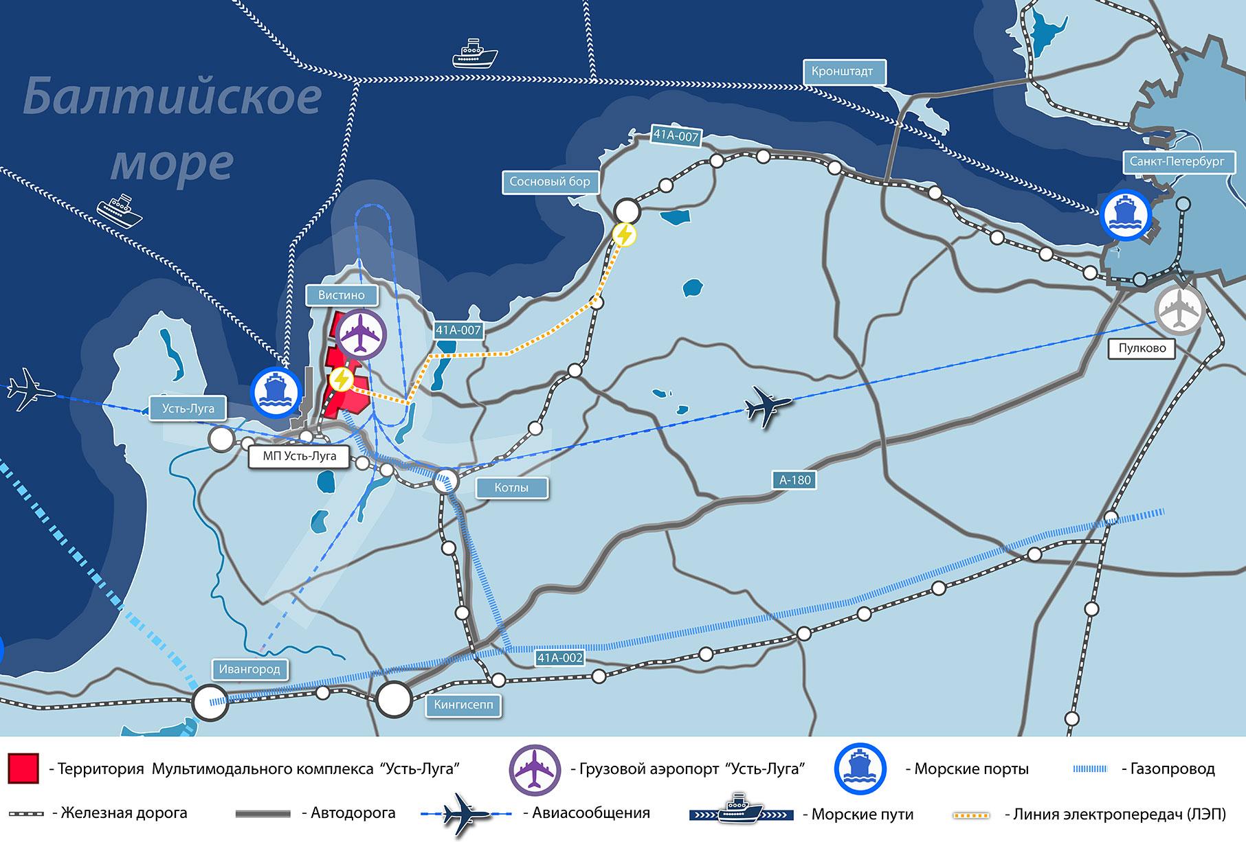 Мультимодальный комплекс УстьЛуга Location - Location map ust